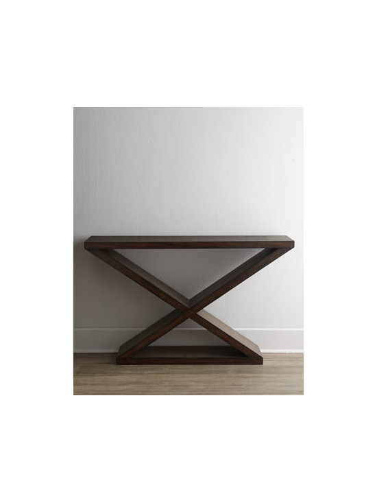 """Ambella - Ambella """"Tacoma"""" Console - Sleek sophistication emanates from this clean-lined console. Handcrafted of the finest wood by skilled artisans, the timeless design of this elegant statement piece enhances any decor. Made of solid mindi wood. Dark driftwood finish. 56""""W x 14""""D x 34""""T. Imported. Boxed weight, approximately 73"""