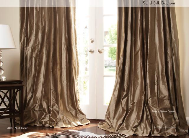 Solid Silk Custom Drapery in Platinum contemporary-curtains