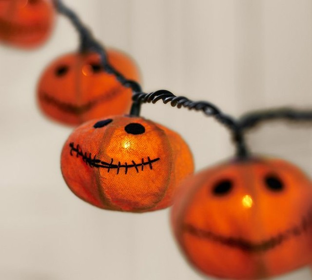 Jack o 39 lantern string lights traditional holiday for Pottery barn lantern string lights