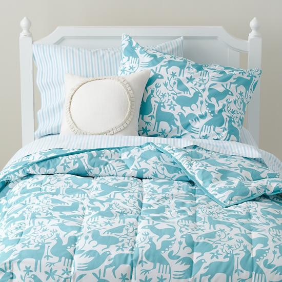 Animales Gráficos Bedding, Teal contemporary-kids-bedding