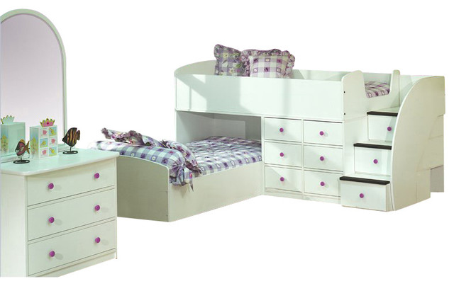 Berg Furniture Sierra L-Shaped Full over Twin Captains Bunk Bed transitional-kids-beds