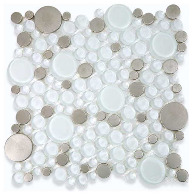 Loft Ice Cave Circles Glass & Metal Tiles contemporary-tile