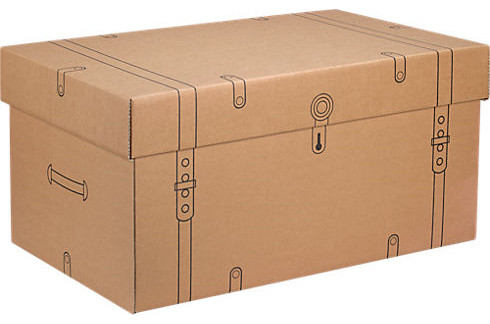 cardboard storage trunk   eclectic   decorative trunks