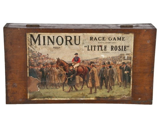 Minoru Race Game Box - Vintage 1910 wood box from the British Minoru horse racing game.