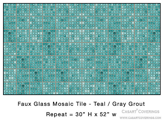 Removable & Reusable Teal Faux Glass Mosaic Tile eclectic-wallpaper