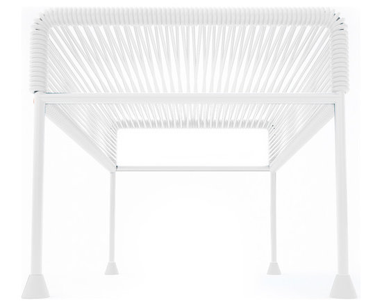 Adam Ottoman, White Frame With White Weave - Sleek woven vinyl makes this coffee table stand really pop. It's a great option for indoor and outdoor use since the vinyl is UV protected and the metal base is galvanized. The only challenge would be deciding on your favorite color top to pair with the crisp white base.