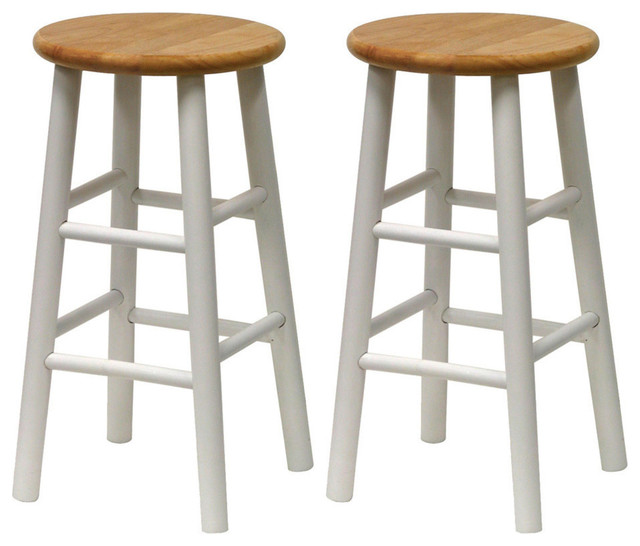 Winsome Wood Set of 2 - Beveled Seat - 24 Inch Stool in Natural & White contemporary-bar-stools-and-counter-stools
