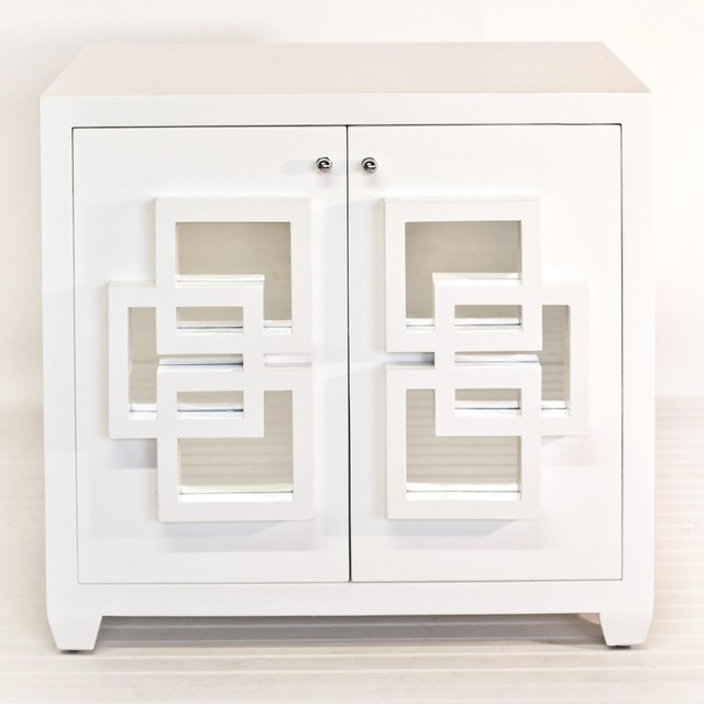 Worlds Away Nash Cabinet In White Lacquer - Asian - Storage Cabinets - by Candelabra