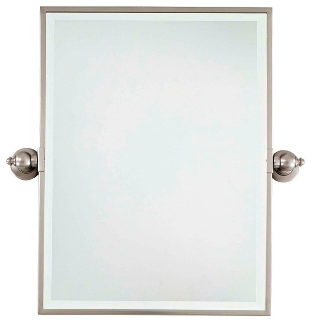 "Traditional Minka 24"" High Rectangle Brushed Nickel Bathroom Wall Mirror - Traditional - Wall ..."