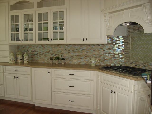 painted kitchen with oceanside glass backsplash tile