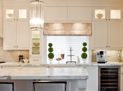 kitchens herringbone backsplash