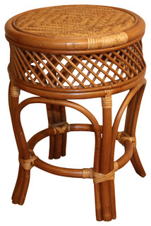Round Rattan Stool/Table - Tropical - Bar Stools And Counter Stools - by Wicker Paradise
