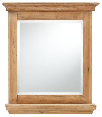 Mason Reclaimed Wood Mirror With Shelf Traditional