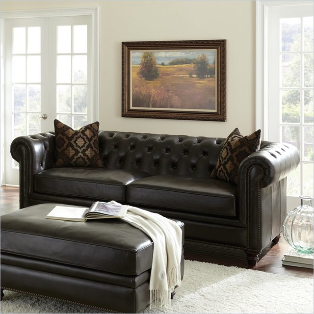 Pillows Leather Sofa: Steve Silver Company Tusconny Leather Sofa In Arkon Bark