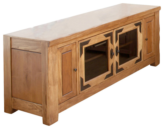 Artisan Home Lodge 100 60 Inch Wide TV Stand with Media Storage - Traditional - Entertainment ...