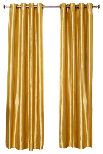 "Dupioni Faux Silk Grommet Top Blackout Curtain - 1 Pair, Gold, 84"" contemporary-curtains"