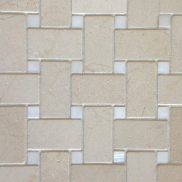 Polished White Mother of Pearl & Crema Marfil Marble Basketweave Tile contemporary-tile