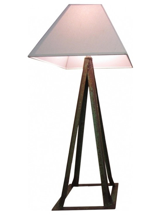 Vintage Jack Stand Lamp - The base is 22 inches tall to the base of the socket - it is 38 inches tall with the shade. The base of the jack stand is 7 inches square and the bottom measurement of the pyramid lamp shade is 16 inches wide.