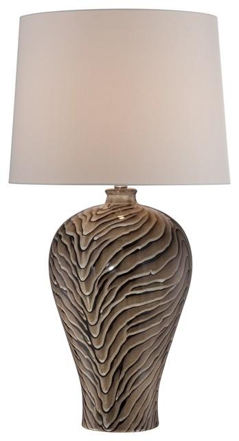 Asian Animal Print Ceramic Urn Table Lamp traditional-table-lamps