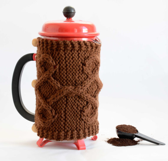 French Press Cozy, Brown by Odessete's Studio contemporary-pantry-and-cabinet-organizers