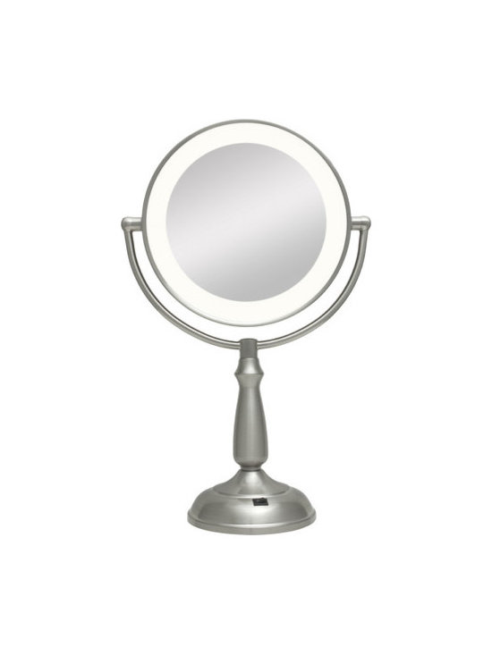 """Zadro - Dual-Sided LED Lighted Vanity Mirror - Next Generation Ultra-Bright Dual-Sided LED Lighted Vanity Mirror with 1X & 10X magnification. Features: -Satin nickel finish. -Includes AC adaptor and on/off switch. -Mirror rotates 360°. Specifications: -Dual-sided mirror with 1X and 10X magnification. -Mirror Dimensions: 7.5"""". -Overall Dimensions: 17.25"""" H x 11"""" W x 5.5"""" D."""
