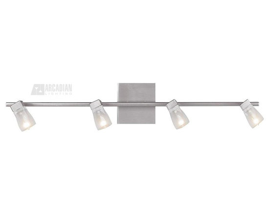 Access Lighting - Access Lighting Ryan Bar Modern / Contemporary Bathroom Light X-LCF/SB-44125 - Clean curves and modern lines give an updated contemporary appeal to this Access Lighting bathroom light. From the Ryan Bar Collection, it features a clean Brushed Steel finish that compliments the unique look of the inner frosted crystal shades that pull the look together.