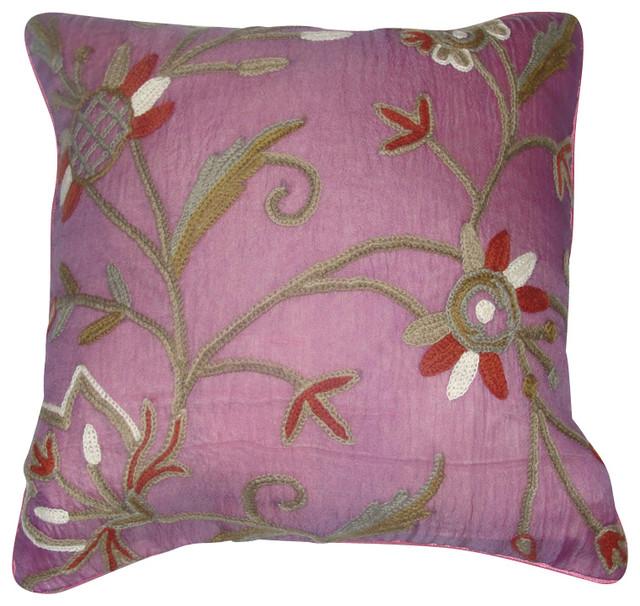 Crewel Pillow Marigold Queen Pink Silk Organza (16x16) craftsman-bed-pillows