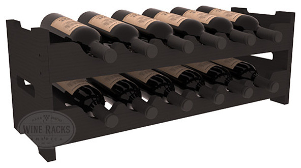 12 Bottle Mini Scalloped Wine Rack in Pine with Black Stain traditional-wine-racks