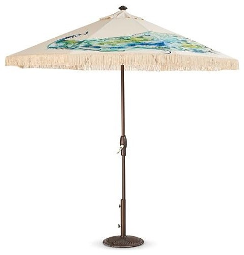 Regal Peacock Hand painted Patio Umbrella Traditional