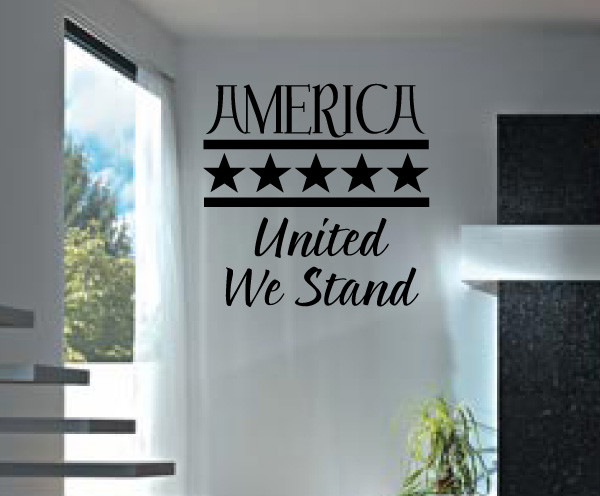 United we stand Vinyl Wall Decal hd005, Brown, 72 in. contemporary-wall-decals