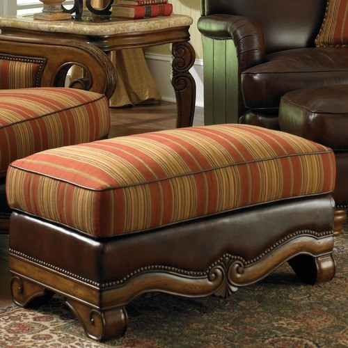 Toscano Wood Trim Leather Ottoman in Brick traditional-footstools-and-ottomans