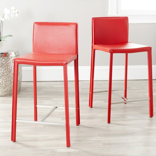Safavieh Park Ave Red Leather 26 Inch Counter Stool Set