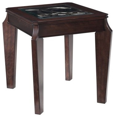 Magnussen Ombrio Rectangle Cherry Wood and Glass End Table modern-indoor-pub-and-bistro-tables