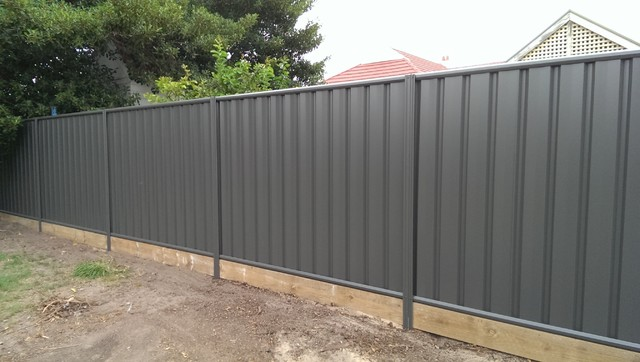 Panel Fencing With Timber Under Fence Plinth In Colour