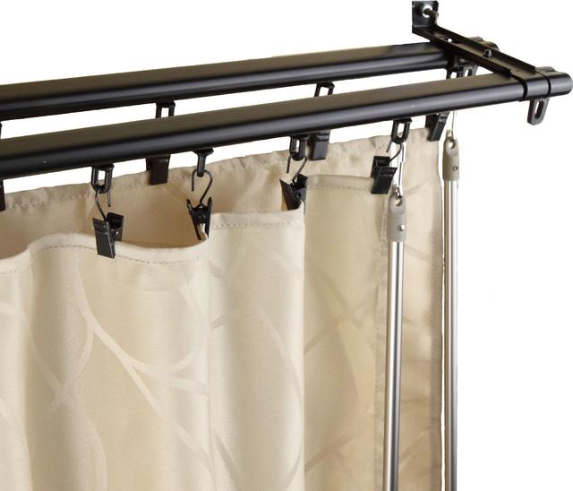 ... Black Adjustable Double Curtain Rod Track contemporary-curtain-poles