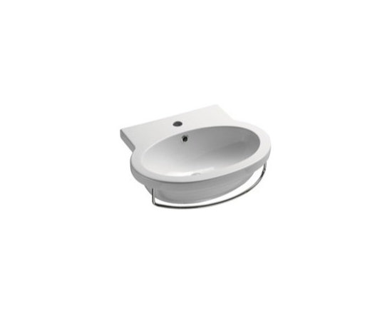 "GSI - Modern and Stylish Wall Mounted White Ceramic Sink by GSI - This modern and stylish oval shaped sink is designed and manufactured by GSI in Italy. Wall mounted bathroom sink made of high quality white ceramic. Sink includes overflow and comes with the option of a single faucet hole (as shown), no hole, or 3 holes. Sink dimensions: 21.70"" (width), 7.90"" (height), 17.70"" (depth)"