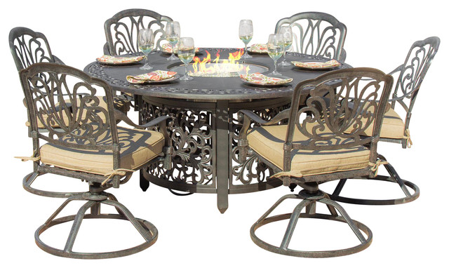 Patio Dining Set With Fire Pit Table Traditional Outdoor Dining Sets