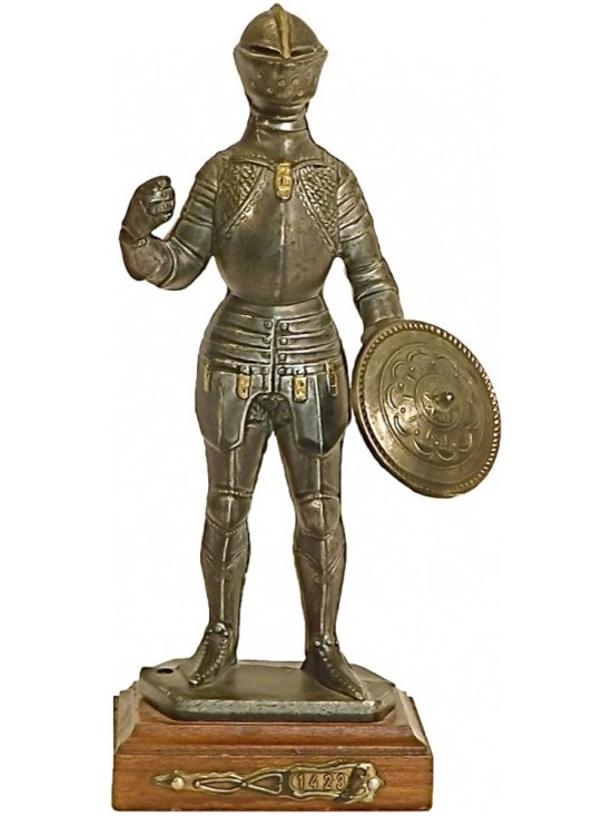 "Knight, Sword, and Shield Figurine - Knight, Sword, and Shield Figurine I. Numbered ""1423"""