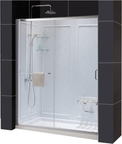 """Infinity-Z Frameless Sliding Shower Door, 32"""" by 60"""" Shower Base & QWALL-5 Showe contemporary-bathtubs"""