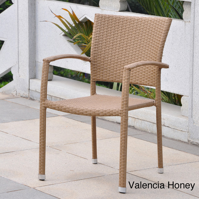 Barcelona Resin Wicker Outdoor Dining Chairs Set Of 4 Contemporary Dini