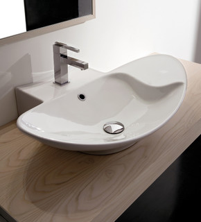 Oval Sink Bathroom : Oval Shaped White Ceramic Vessel Sink - Contemporary - Bathroom Sinks ...