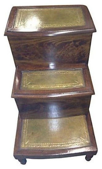 Pre-owned English Leather Library Step Commode traditional-accent-chests-and-cabinets
