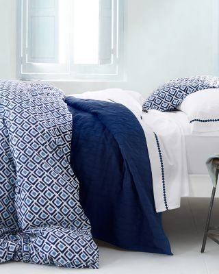 geo sham standard royal navy blue geometric modern pillowcases and shams by garnet hill. Black Bedroom Furniture Sets. Home Design Ideas