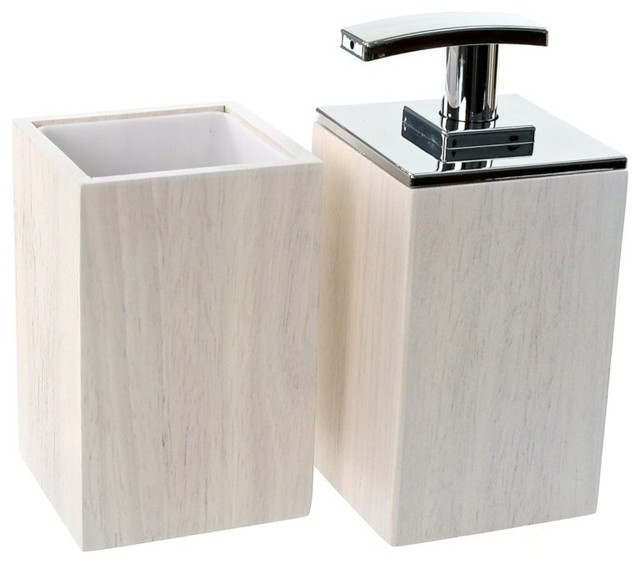 Wooden 2 piece white bathroom accessory set contemporary for White bath accessories sets