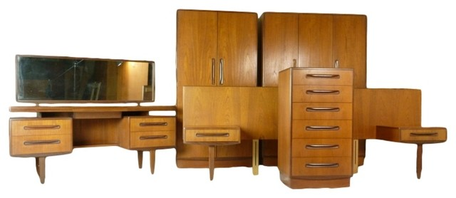 Mid century danish teak queen bedroom suite by g plan for G plan bedroom furniture for sale
