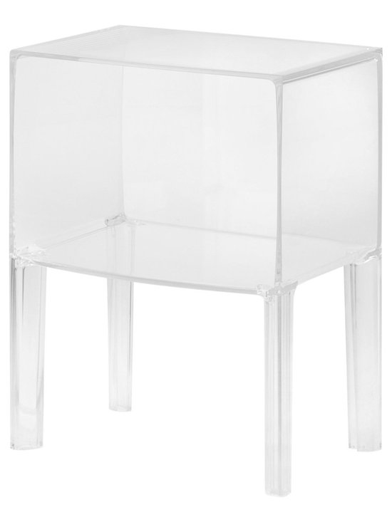 Nightstands and Bedside Tables: Kartell Small Ghostbuster Table - The Kartell small Ghostbuster table in Transparent Crystal from Stardust.com.  Designed by Phillippe Starck and Eugeni Quitllet, the Ghost Buster is the next generation of iconic ghost designs. This small table will look at home in any corner of the house, next to the bed, sofa or even in the bathroom. Available in completely transparent, colored or matte versions it is made of plastic and will complement any interior.  Nice when used as a bedside table, nightstand, living room side table or as a small bathroom organizer for towels and such.  Available from: http://www.stardust.com/smallghostbuster.html