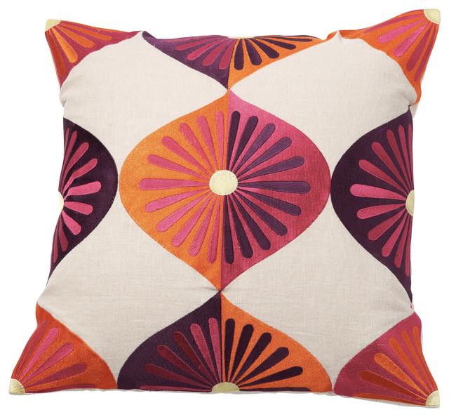 Royal Fans Pillow, Sunshine midcentury-decorative-pillows