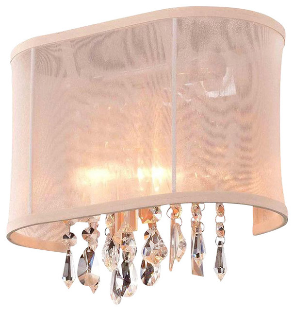 1 Light 11'' Linear Wall Sconce Lighting Fixture with Crystal and Oyster Shade contemporary-wall-lighting