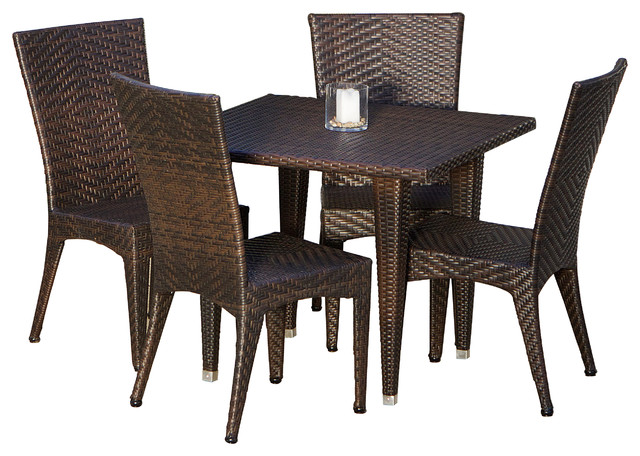 Brooklyn 5 Piece Outdoor Wicker Dining Set Tropical