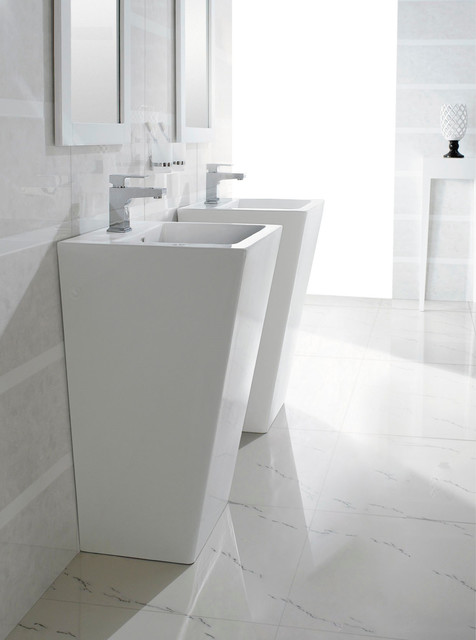 Bresica Modern Bathroom Pedestal Sink Bathroom Sinks Dallas By The Interior Gallery